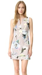 Milly Floral Print Mini Sheath Dress Petal