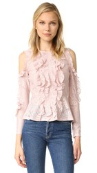 Bcbgmaxazria Cold Shoulder Peplum Blouse Bare Pink