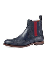 Gucci Strand Hammered Leather Chelsea Boot W Web Navy