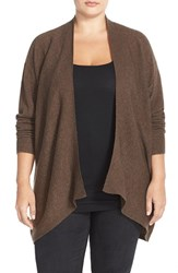 Plus Size Women's Sejour Dolman Sleeve Wool And Cashmere Cardigan Brown Medium Heather