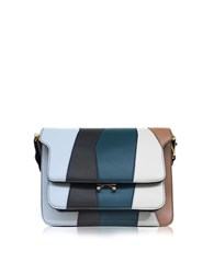 Marni Illusion Blue And Coffee Leather Trunk Bag