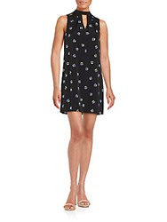 1.State Gathered Neck Printed Dress Rich Black