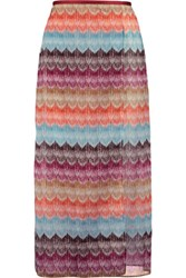Missoni Printed Cotton Wrap Skirt Orange