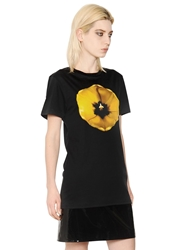 Christopher Kane Tulip Printed Cotton Jersey T Shirt Black Yellow