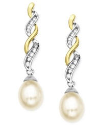 Macy's 14K Gold And Sterling Silver Earrings Cultured Freshwater Pearl And Diamond Accent White