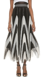 Alice Olivia Nicole Pleated Maxi Skirt Black White