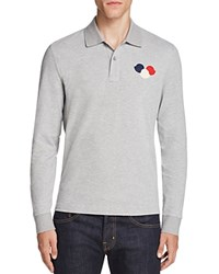 Moncler Triple Logo Long Sleeve Regular Fit Polo Shirt Light Grey