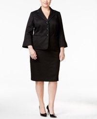 Le Suit Plus Size Three Button Skirt Black