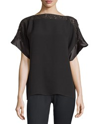 Lafayette 148 New York Alonza Lace Trim Short Sleeve Blouse Black