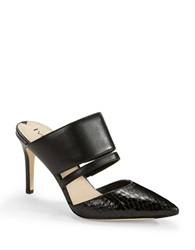 Via Spiga Coralia Leather Mule Heels Black