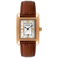 Rotary Gs02651 09 Men's Rectangle Leather Strap Watch Gold Brown