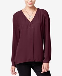 Bar Iii Long Sleeve V Neck Blouse Only At Macy's Tile Red