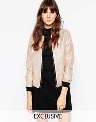 Helene Berman Bomber Jacket In Rose Gold Stripes Peach Pink