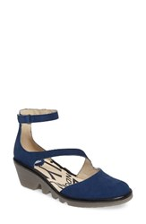 Fly London Women's Plan Pump Blue Black Nubuck Leather