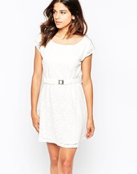 Pussycat London Belted Dress In Lace White