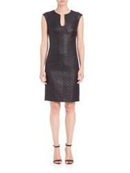 Josie Natori Lacquered Basket Weave And Ponte Dress Black