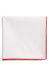 The Tie Bar Cotton Solid Pocket Square White Red