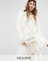 Seint Cable Knit Jumper With Silver Stud Detail Cream