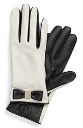 Women's Kate Spade New York 'Bow Logo' Gloves Cream Black