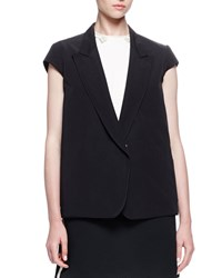 Lanvin Cap Sleeve Button Front Jacket Black
