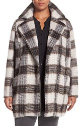 Plus Size Women's Junarose 'Palish' Brushed Plaid Coat