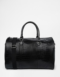 Asos Smart Holdall In Black Faux Leather With Crocodile Effect