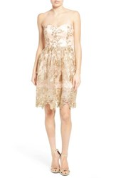 Junior Women's A. Drea Embroidered Lace Strapless Dress