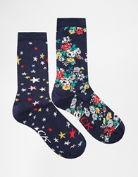 Cath Kidston Scattered Stars And Clifton Rose 2 Pack Socks Multi