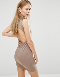 Pussycat London Dress With Embellished Shoulders And Open Back Gold