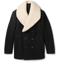 Kent And Curwen Nicholson Shearling Trimmed Virgin Wool Peacoat Black