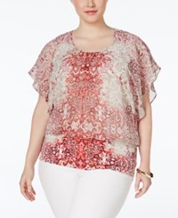 Styleandco. Style And Co. Plus Size Printed Flutter Sleeve Blouse Only At Macy's Ombre Scroll