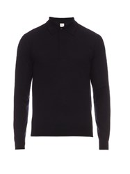 Paul Smith Long Sleeved Wool Polo Shirt Navy
