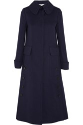 Valentino Cotton And Linen Blend Coat Blue