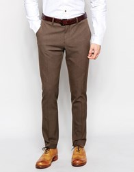 Selected Homme Skinny Houndstooth Suit Pants With Stretch Brown