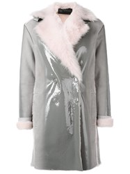 Versace Varnished Shearling Coat Grey