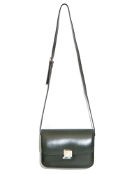 Pixie Market Olive Green Leather Shoulder Bag