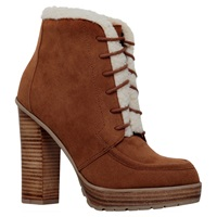 Miss Kg Serene Stacked High Heel Ankle Boots Tan Suedette