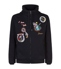 Dolce And Gabbana Vintage Patch Hoodie Male Blue