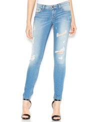 Guess Low Rise Distressed Skinny Jeans Voila Destroy Wash