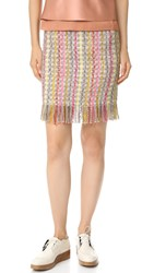 Edun Tweed Fringe Skirt White Multi