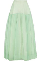 Rochas Ruffled Washed Silk Maxi Skirt Mint