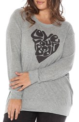 Plus Size Women's Slink Jeans 'Love Your Body' Graphic Crewneck Sweatshirt Heather Grey