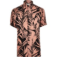 River Island Mens Pink Bamboo Print Short Sleeve Shirt