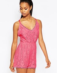 City Goddess Lace Playsuit With Strappy Back Pink