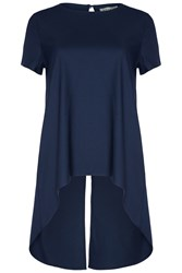Alice And You Dip Hem Back Split Blouse Navy