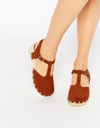 Asos Oakland Suede Clogs Chesnut Pink