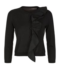 Max Mara Maxmara Ruffle Trim Cardigan Female Black