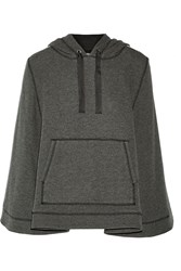 Sea Embellished Cotton Blend Hooded Cape Gray
