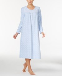 Charter Club Fleece Lace Trimmed Printed Long Nightgown Only At Macy's Blue Geo