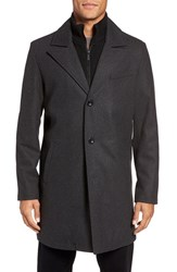 Kenneth Cole Men's New York Bib Inset Wool Blend Coat Charcoal